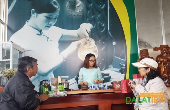 Du khách được hướng dẫn pha trà và thưởng thức trà