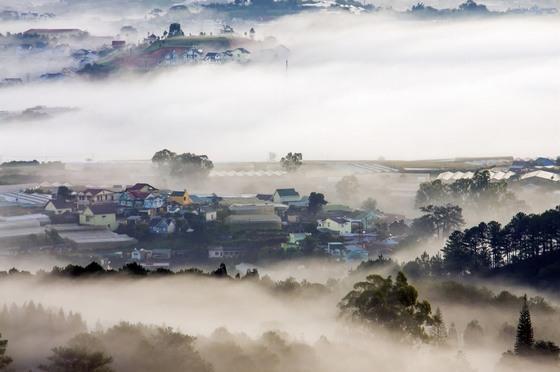 thành phố Đà Lạt trong sương