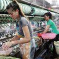 Du khách tham quan nhà máy dệt lụa tơ tằm
