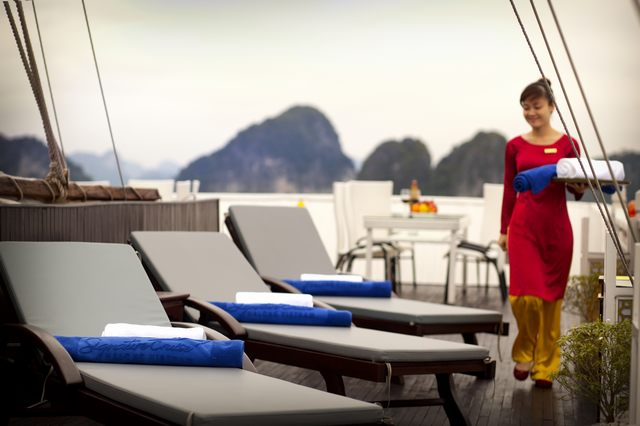 A staff of Signature Halong Cruises