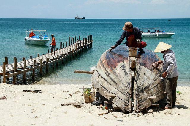 Fishermen on the island