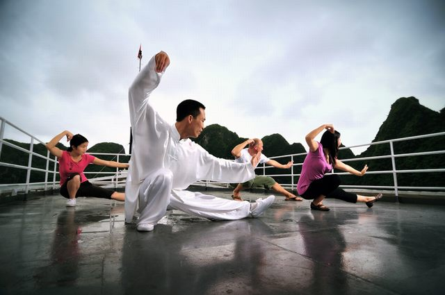 Practice Tai Chi on Halong Bay Cruise