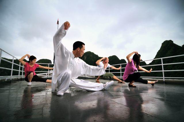Practice Tai Chi on Halong Bay Cruise