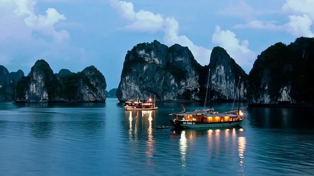 night view of Halong Bay