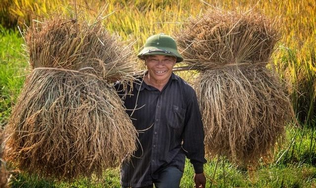 A bright smile despite strenuous labor