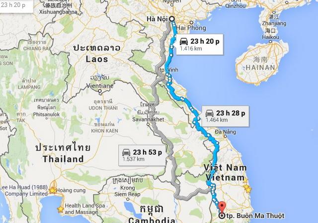 Hanoi - Buon Ma Thuot route