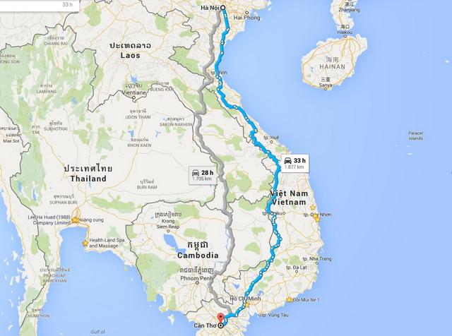 Hanoi - Can Tho itinéraire
