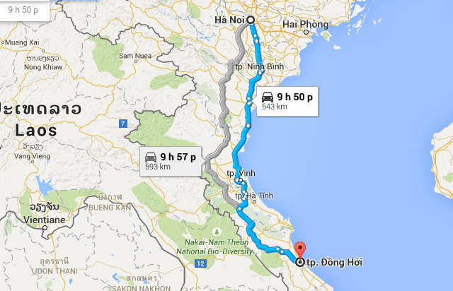 Hanoi - Dong Hoi route