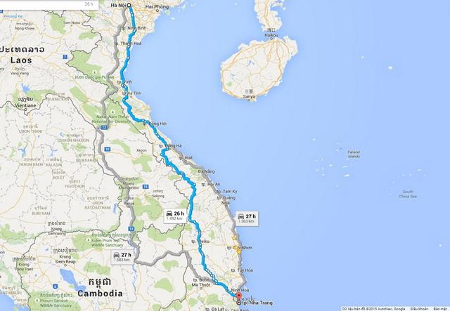 Hanoi - Nha Trang route
