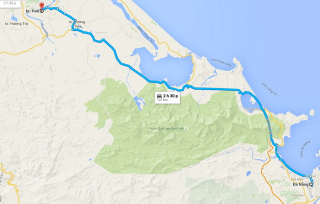 Дананг - Оттенок маршрут