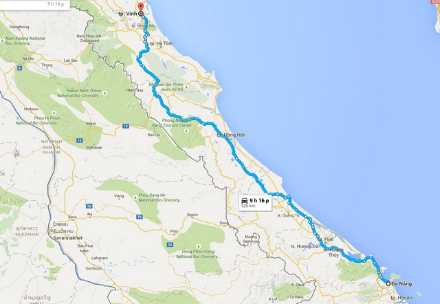 Da Nang - Vinh route