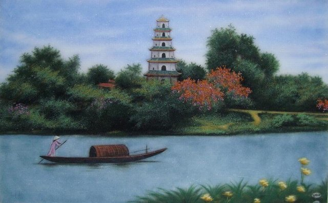 a painting of Thien Mu pagoda