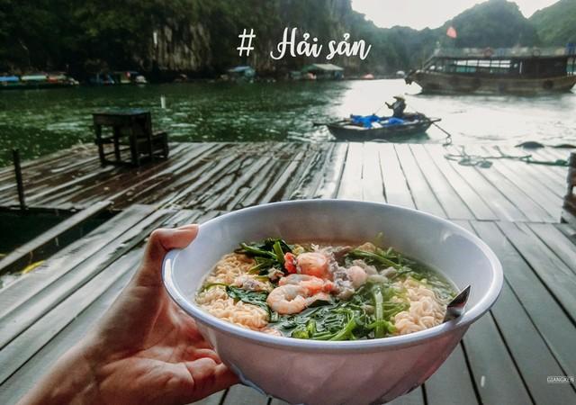 enjoying noodle with seafood