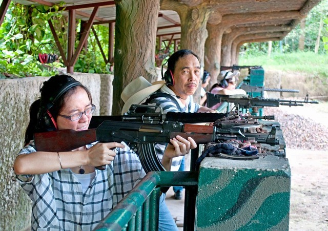 Test at Ben Duoc shooting school in Cu Chi Tunnels