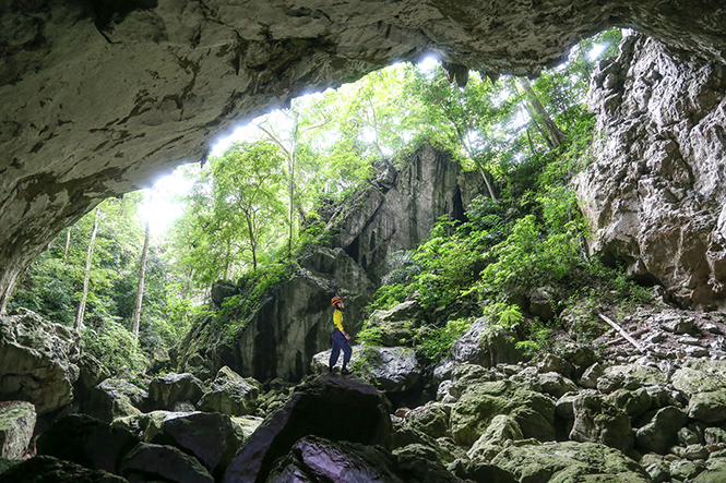 Dai A Cave or another name is Ho Cave, which is 1.616 m long, 46 m deep and 50m wide of the entrance