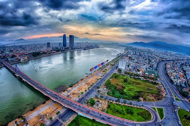 Da Nang city in sunset