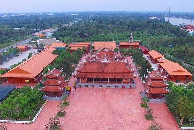 The monastery is viewed from above