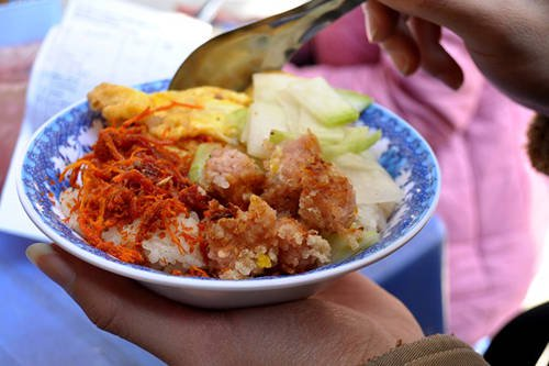 Sticky rice with sweet potato and fermented pork roll are a new but attractive combination