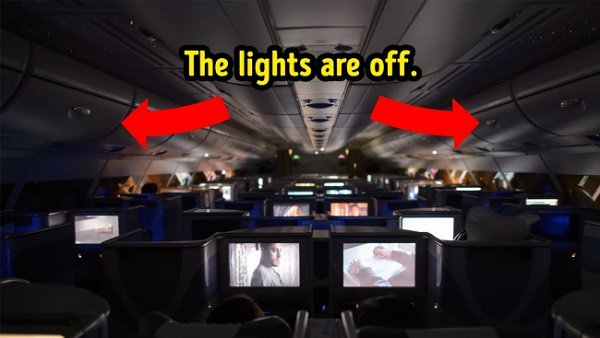 Night-lights on aircraft are always dimmed or off