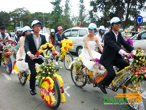Dalat Wedding with Tandem Bike