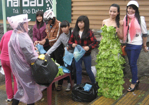 Dalat girl in fresh vegetables dress