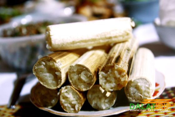 sticky rice cooked in bamboo tubes