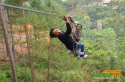 high rope course with child