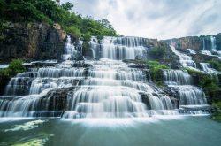 Highlands in season of cascading waterfalls