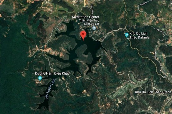 Tuyen Lam Lake in satellite photo